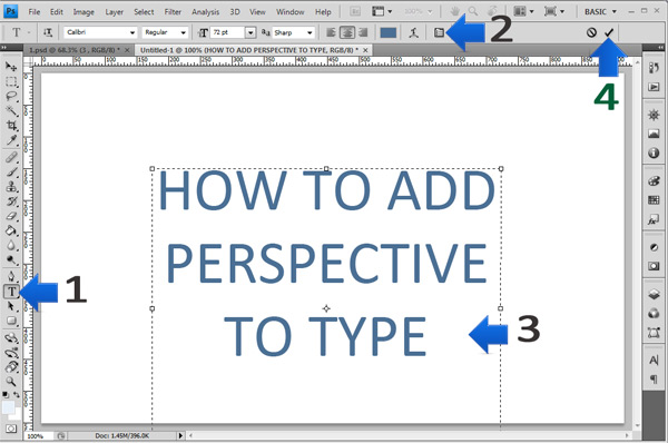 photoshop perspective text step 1